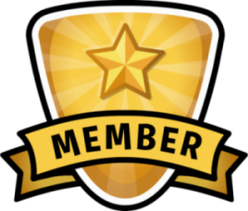 gold badge with a star and the word member in a banner